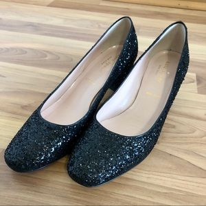 Kate Spade Dolores Black Glitter Pumps